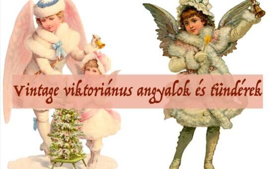 Vintage viktoriánus angyalok és tündérek