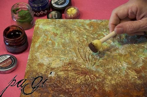 Pillangós falikép rozsda és patina effektekkel
